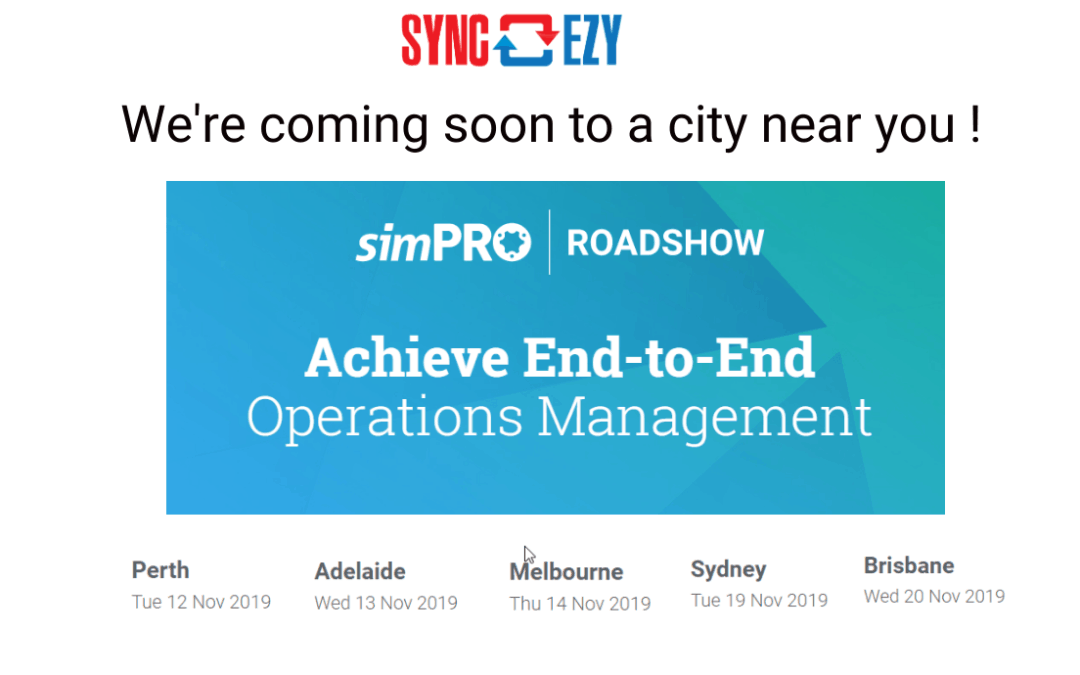 We're coming to the simPRO Roadshow near you in November!