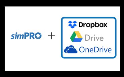 simPRO cloud storage integrations Dropbox Google Drive and One drive